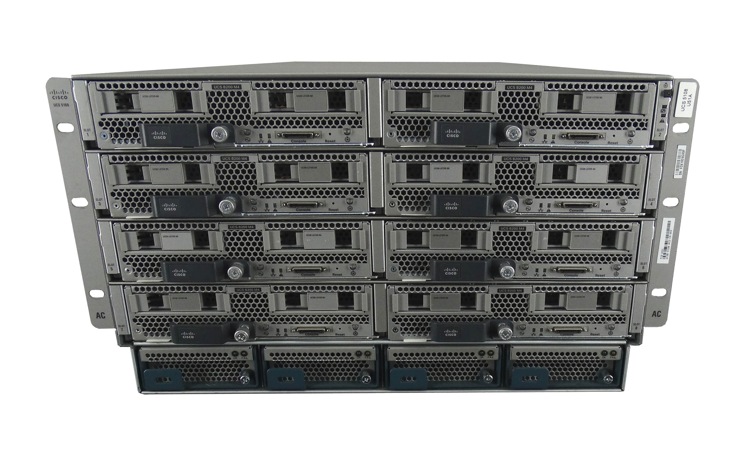 Cisco UCS 5108 Chassis with 8x B200 M4 Blade Server